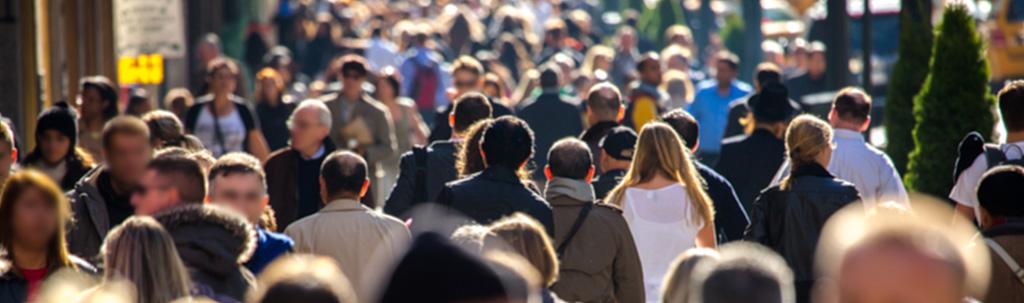 Large crowd on walkway or street