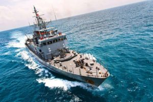 Overhead view of Military navy ships in a the sea water