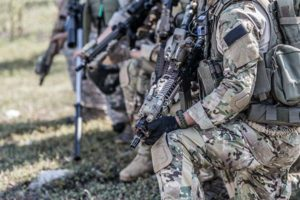 Special Operations soldiers training with weapons